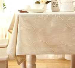 Tina Cotton Linen Tablecloth Leaf Embroidered Table Cover fo