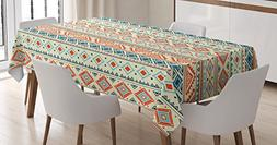 Ambesonne Tribal Tablecloth, Mexican Style Aztec Patterned R