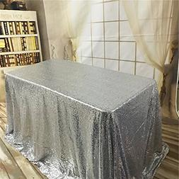 TRLYC 60 by 102-Inch Rectangle Shiny Sequin Tablecloth Silve