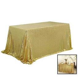 TRLYC Fathers'day Gift Sparkly GOLD Sequin Tablecloth For 60