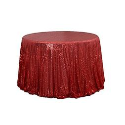 BalsaCircle TRLYC Halloween Party Red Sequin Tablecloth,Roun