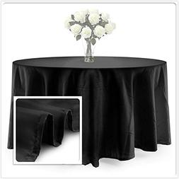 "BalsaCircle TRLYC Polyester Tablecloth - 90"" Black Round Tab"
