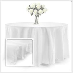 BalsaCircle TRLYC 90-Inch White Round Polyester Tablecloth O