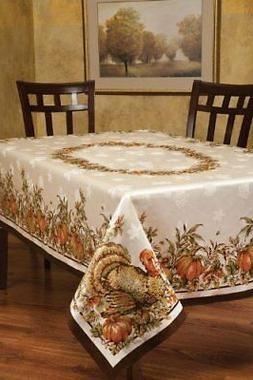 Benson Mills Turkey Festivities Engineered Border Tablecloth