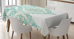 Turquoise Tablecloth Vintage Floral Boho Rectangular Table C