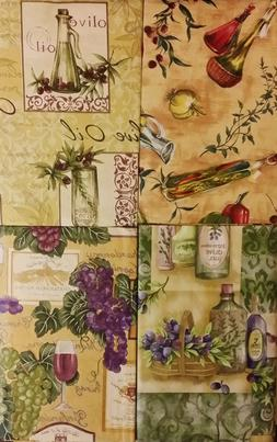 Tuscan Themed Vinyl Flannel Back Tablecloths by Elrene