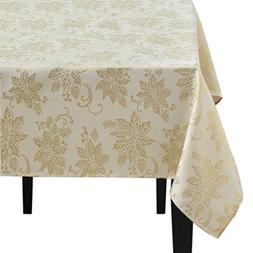 Benson Mills Twinkle Poinsettia Metallic Tablecloth, Ivory/G