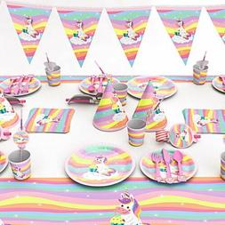 Unicorn Tableware Kids Girl Favor Happy Birthday Party Decor