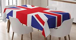 Ambesonne Union Jack Tablecloth, Classic Traditional Flag Un