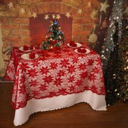 US Christmas Lace Flower/ Snowflake Round/ Rectangle Tablecl