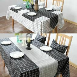 Cotton Linen Plaid Tablecloth Simple Check Kitchen Table Clo