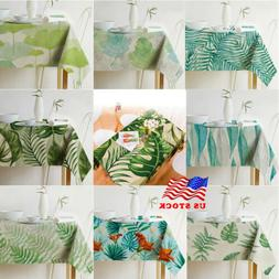 US Rainforest Plants Leaves Linen Tablecloth Kitchen Dining