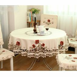 US White Embroidered Tablecloth Floral Lace Round Table Cove