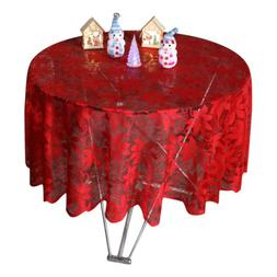 USA Christmas Red Lace Flower Tablecloth Round/Rectangle Tab