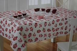 Valentine's Day White With Red & Pink Cupcakes Vinyl 52x70 O