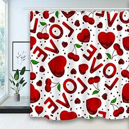 Valentines Day Bath Curtains, Red Heart Love Symbol Girl Eng
