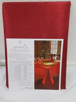 Benson Mills Valentines Metallic Red Shimmer Fabric Tableclo