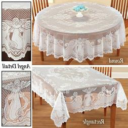Vintage Angel Lace Tablecloth Rectangle Round Table Cloth Co