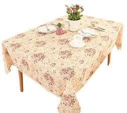 "Vintage Flower Decorative 55 x102"" Rectangle Linen Tableclot"