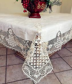 Vintage Needle Lace Handmade Embroidery Linen Tablecloth Whi
