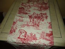 VINTAGE RED & CREAM TOILE POLYESTER OBLONG FABRIC TABLECLOTH
