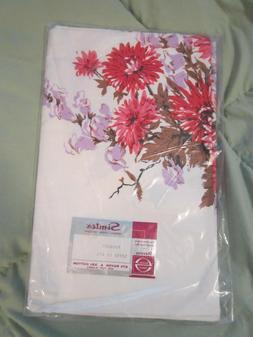 vintage Retro Simtex purple and pink floral tablecloth new i