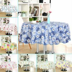 Vinyl House Tablecloth Round Tables Floral Printed Water Res