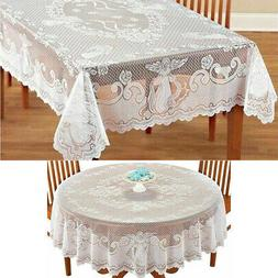Vinyl Lace Tablecloth Table Cover White  Round Oval Rectangl