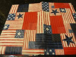 "Vinyl Tablecloth 52"" x 52"" FLAG RED WHITE BLUE 4th of JULY P"
