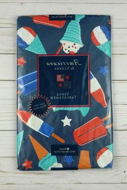 Vinyl Tablecloth 60 Round Americana Red White Blue Popsicle