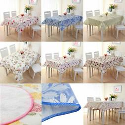 Vinyl Tablecloth Rectangle Tables Floral Printed Water Resis