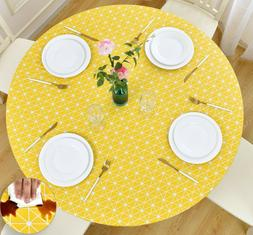 Vinyl Tablecloth Round Fitted Elastic Flannel, Checkerboard,