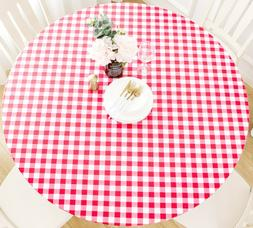 Vinyl Tablecloth Round Fitted Elastic Flannel Gingham Check