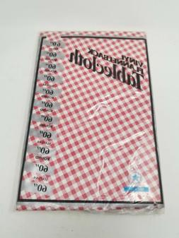 Vinyl Tablecloth Round Plastic Indoor Outdoor Red Checkered