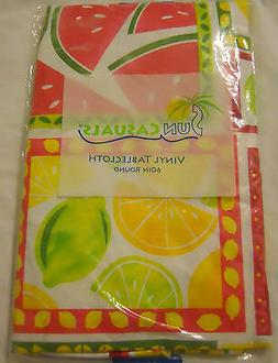 Sun Casuals Vinyl Tablecloth Yellow Pink Green White Round S