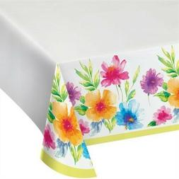 Watercolor Floral Plastic Banquet Tablecloth Spring Flowers