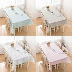Waterproof Oil Proof Brief Plaid PVC Tablecloth Home Dining