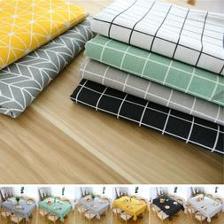 Waterproof Oilproof Rectangular Plaid Tablecloth Kitchen Din