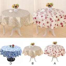 Waterproof Table Cover Cloth Party Tablecloth Round Oil-proo
