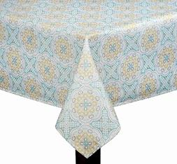 Elrene Waverly Astrid Printed Fabric Tablecloth, Teal and Ye
