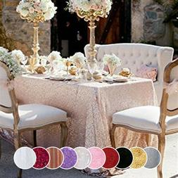 "Wedding Sequin Tablecloth 90""x156"" Rectangle Sparkly Table O"