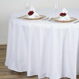 """WHITE 108"""" ROUND POLYESTER TABLECLOTH Wedding Party Tabletop"""