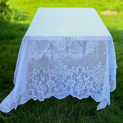 WHITE 60x126 RECTANGLE Floral LACE TABLECLOTH Wedding Party