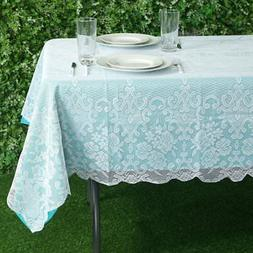 WHITE 60x90 RECTANGLE Floral LACE TABLECLOTH Wedding Party C