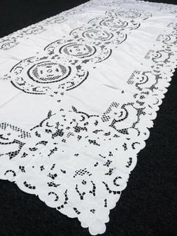 """White 72x108"""" Rectangle Embroidered Cutwork Wedding Banquet"""