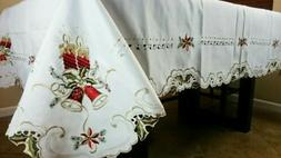 """White 90x90"""" Square Christmas Embroidery Embroidered Tablecl"""