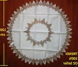 White & Grey Lace Round Dinning table Tablecloth 120 cm diam