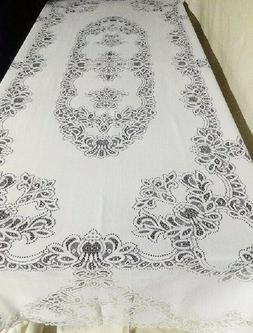 """White Lace Tablecloth Artistry 60 x 104 and 46"""" Table Runner"""