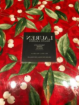 """Ralph Lauren White Berries on Red  60 x 120"""" Tablecloth--NWT"""