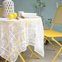 White Cotton Lace Crochet Tablecloth Embrodiry Pastoral Holl